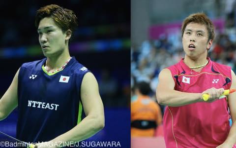 自身最高位の5位に入った桃田賢斗(左)と、巻き返しを図る田児賢一