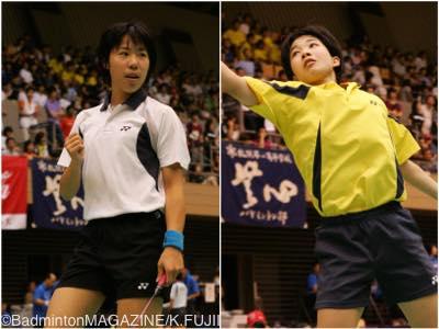 IH決勝の相手は同じ宮城の佐藤冴香(左)。疲労困憊のなかで松友がなんとか勝利を手にした