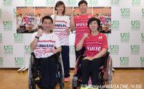 6月に行なわれた大会の開催会見に臨んだ4選手(左上から時計回りに、 豊田まみ子、藤原大輔、山崎悠麻、長島理)
