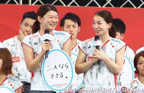 世界選手権への意気込みとして、「二人ならできる。」とフリップに記したタカマツの2人