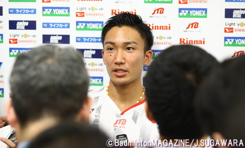 2015年大会以来、3年ぶりの世界選手権出場となる桃田。前回は日本男子シングルス最高成績となる銅メダルを獲得