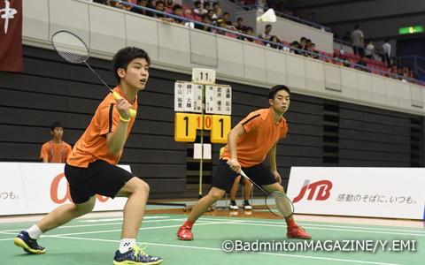 高校では全日本ジュニア、選抜に続くタイトルを獲得した中山裕貴(左)/緑川大輝(埼玉栄)