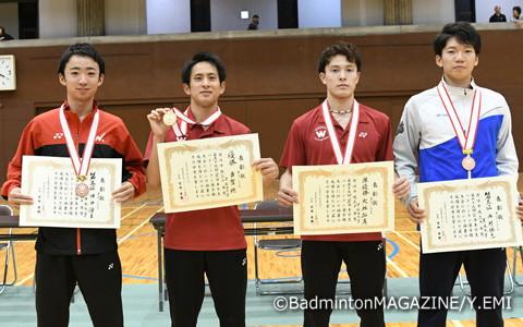 上位入賞者。左から田中湧士、古賀穂、大林拓真、西野勝志