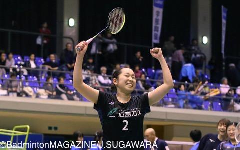 優勝を決めて喜ぶ広島ガスの下田菜都美